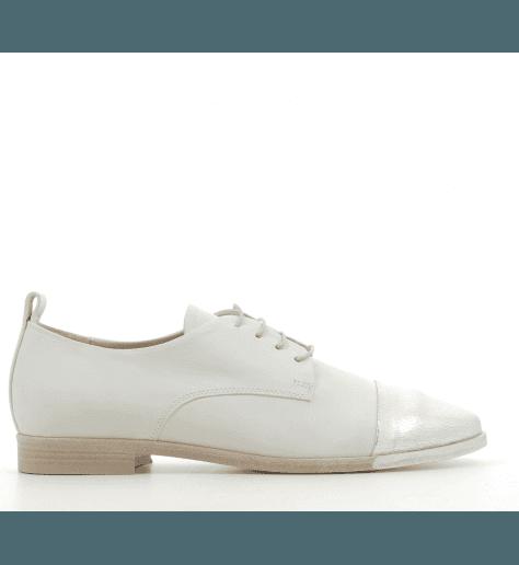 Derbies en cuir argent et blanc 5279 - Garrice collection