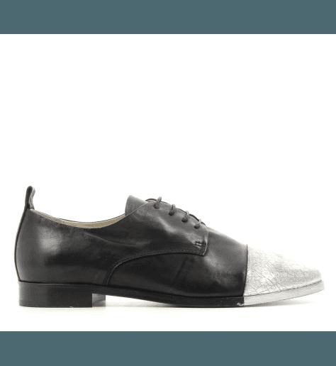 Derbies en cuir argent et Noir 5279 - Garrice collection