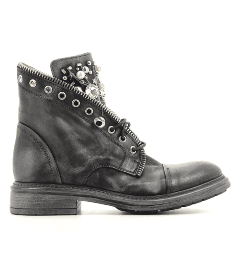 Bottines plates en cuir noir 5329 NOIR - Garrice Collection