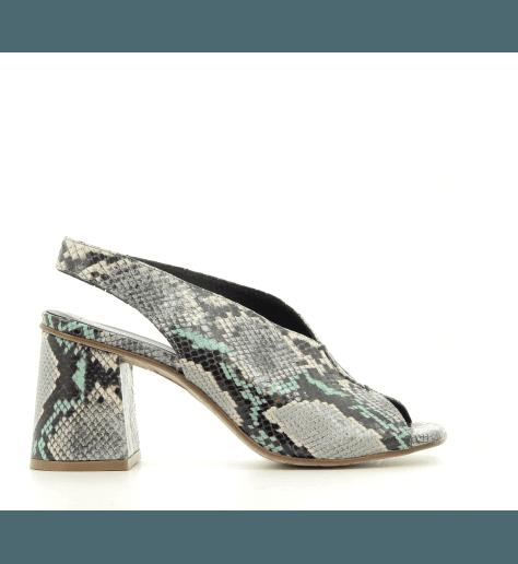 Sandales à talons vert en cuir estampillé python JKA02 VERT - POESIE VENEZIANE