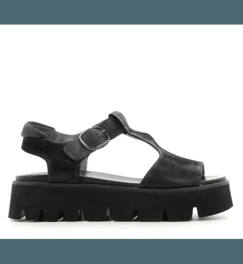 Sandales plateformes en cuir noir E9-027- Lofina