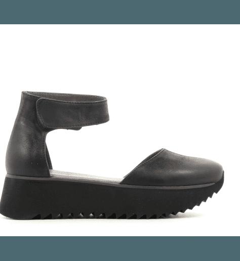 Sandales plateformes en cuir noir E9-123- Lofina