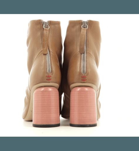 Bottines open-toe à talon en cuir camel Halmanera - EMMA06