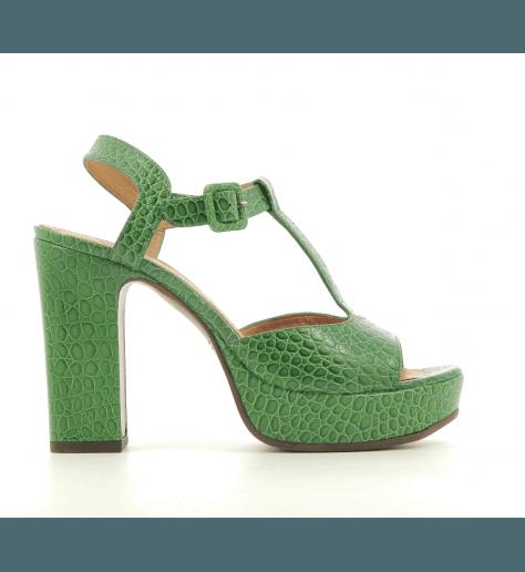 Sandales à talon et patin épais en cuir estampillé vert CHIE MIHARA - FAVIA