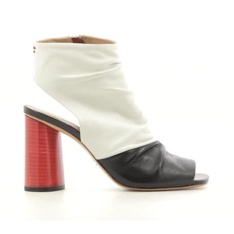 Boots sandale à talon haut rouge et cuir black & white Halmanera - GLORIA 01
