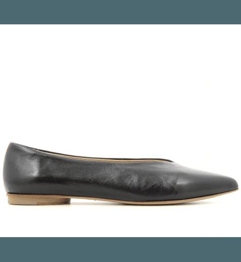 Ballerines pointues en cuir noir Halmanera - LOU03