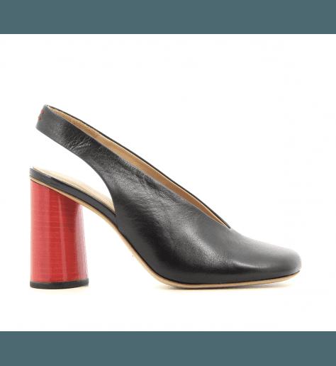 Escarpins à bout carré en cuir noir et talon rouge Halmanera - ORIANE02