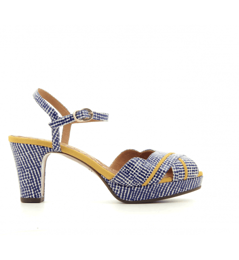 Sandales petits talons en cuir moucheté bleu Chie Mihara - NALU