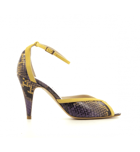 Sandales à talon et bride cheville en cuir violet et jaune Lenora - LISA JAUNE