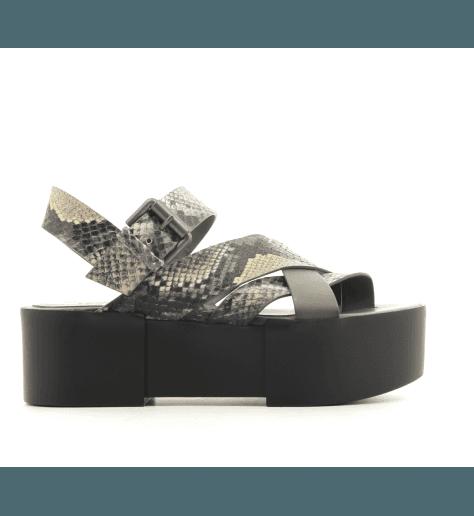 Sandales à semelles épaisses en cuir effet reptile kaki Vic Matie - 7214D