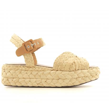 Sandales à plateforme en raphia beige Clergerie Paris - AUDE1