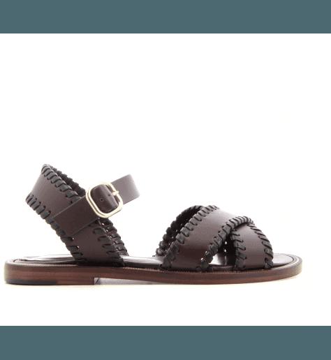 Sandales plates en cuir bordeaux TRIPA V2B- Avril Gau