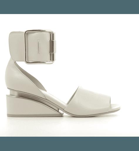 Sandales en cuir blanc à talon structuré Vic Matie - 7478D