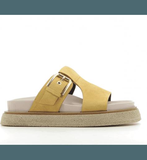 Sandales à semelles épaisses en veau velours moutarde Premiata - M5284M