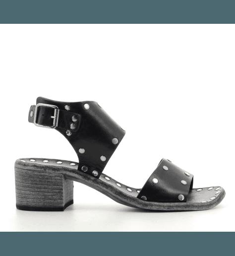 Sandales à talon carré en cuir noir Brador Shoes Ayer- 60660