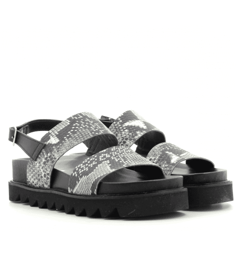 Sandales en cuir noir estampillé serpent GRITT - Garrice Collection