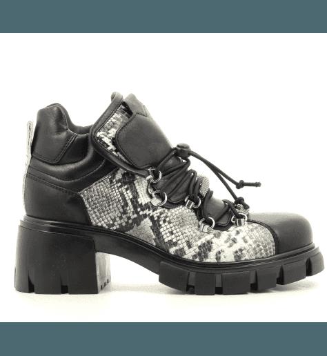 Bottines à lacets en cuir noir fruit now  Sélection Garrice - 5673
