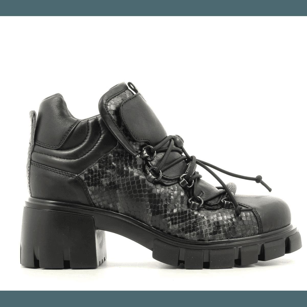 Bottines à lacets en cuir noir et vert fruit now  Sélection Garrice - 5673