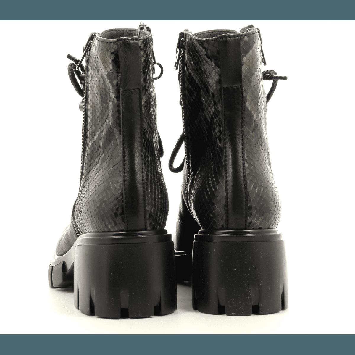 Bottines à lacets en cuir noir fruit now - Sélection Garrice - 5675