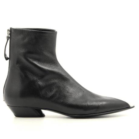 Bottines pointues en cuir noir et blanc Halmanera - ZILLY11