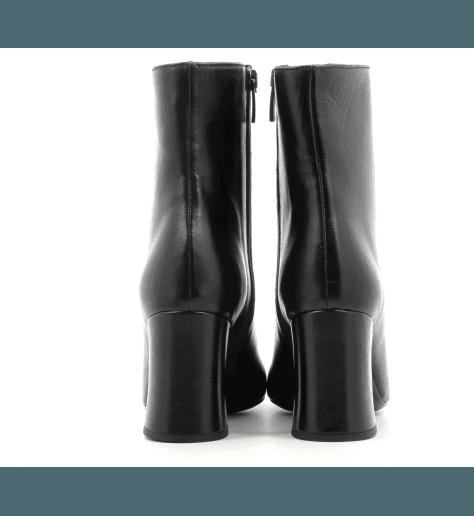 Bottines à talon moyen en cuir noir Garrice Sélection - 6149N