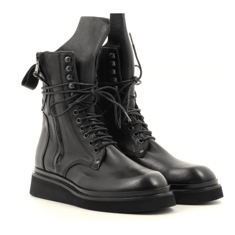 Bottines rangers en cuir noir 5615 - GARRICE COLLECTION