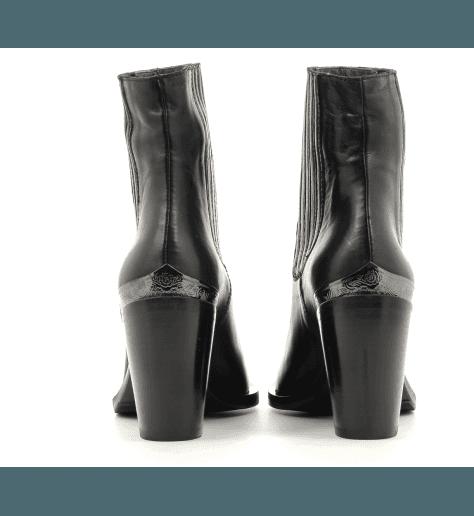 Boots courte en cuir noir Garrice Collection -5770