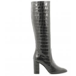 Bottes à talons en cuir noir estampillé crocodile Garrice Collection - W205951CR