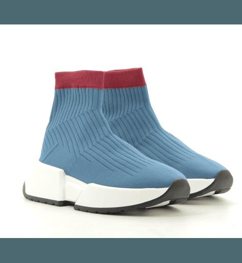 Sneakers bleue façon chaussette logo  S59WS0079b- MM6 Martin Margiela