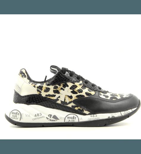 Baskets en textile et cuir léopard noir et doré Premiata - SCARLETT 4166