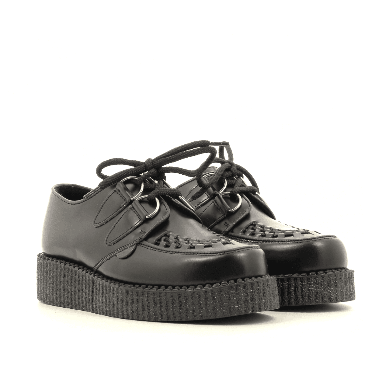 Chaussures à lacet en cuir noir Uunderground -WULFRUN CREEPERS