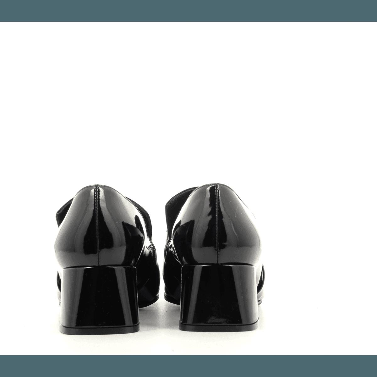 Mocassins à petit talon en cuir vernis noir Sergio Rossi - A86680