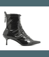 Bottines pointues en cuir stretch noir AGL - D16350 BLACK LATEX