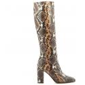 Bottes à talons en cuir estampillé serpent Garrice Collection - W205951s