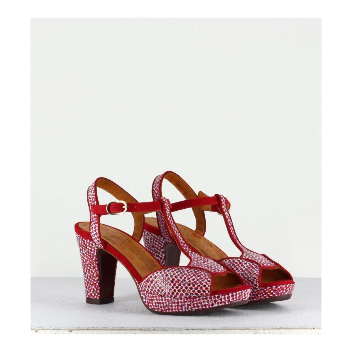 Sandales en cuir imprimé - Eduni red