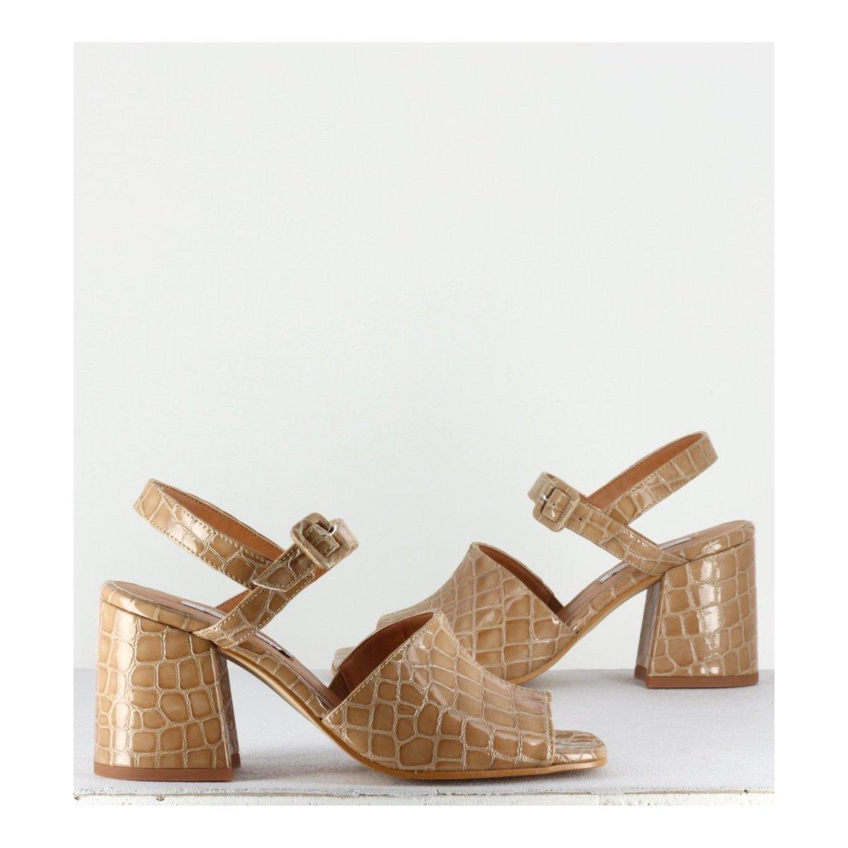 Sandales en cuir effet croco taupe - Rita Liso