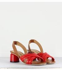 Sandales rouges à petit talon cylindrique - Giada07 Rosso