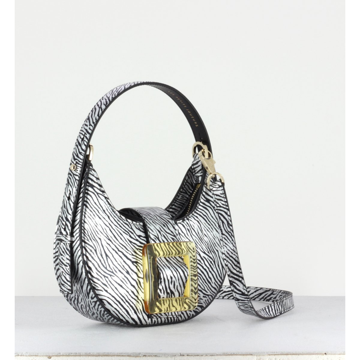 CINDY GLOSSY BUCKLE BAG - ZEBRA PRINT