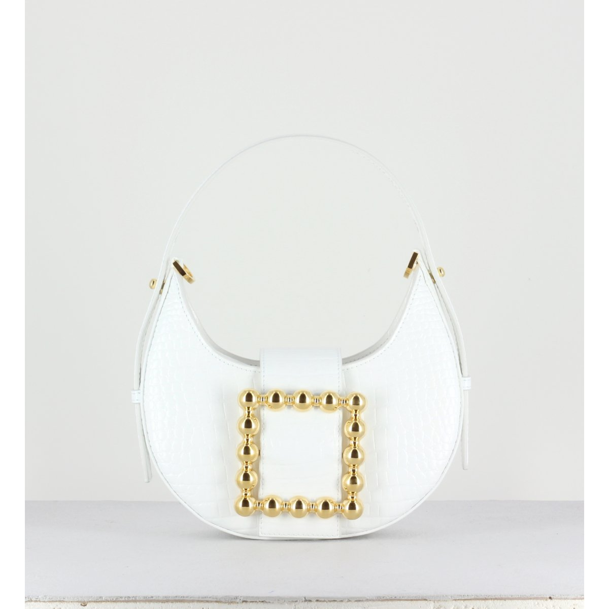 CINDY GOLDEN BUCKLE - CROCO BLANC
