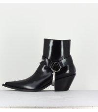 """Bottines style """"Santiag"""" en cuir noir MISBHV - COWBOY ANKLE BOOTS"""