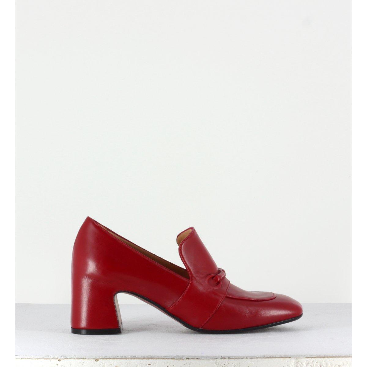 Mocassins à talons bout carré en cuir rouge MARA BINI - F511r