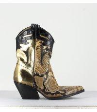 """Bottines style """"Santiag"""" doré et serpent Elena Iachi - E2278"""