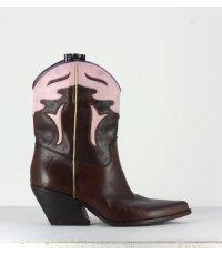 "Bottines style ""Santiag"" en cuir bordeaux Elena Iachi - E2016B"