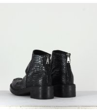 Bottines en cuir estampillées argent strategia jfk P2362 - Garrice Collection