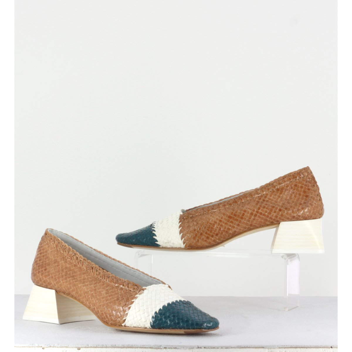 Eivissa Natural Mix Woven Leather Heels