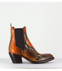 Boots courte santiag en cuir estampillé serpent orange La Bottega Di Lisa - 3927 SERPENT