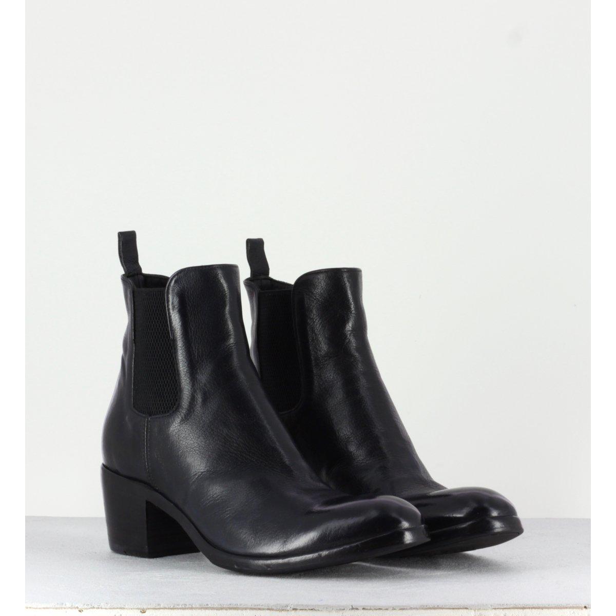 Bottines talons bottier en cuir noir ALBERTO FASCIANI - Nicol 31067C