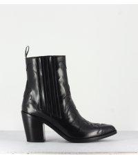 Bottines santiags en cuir noir Sartore - SR3265