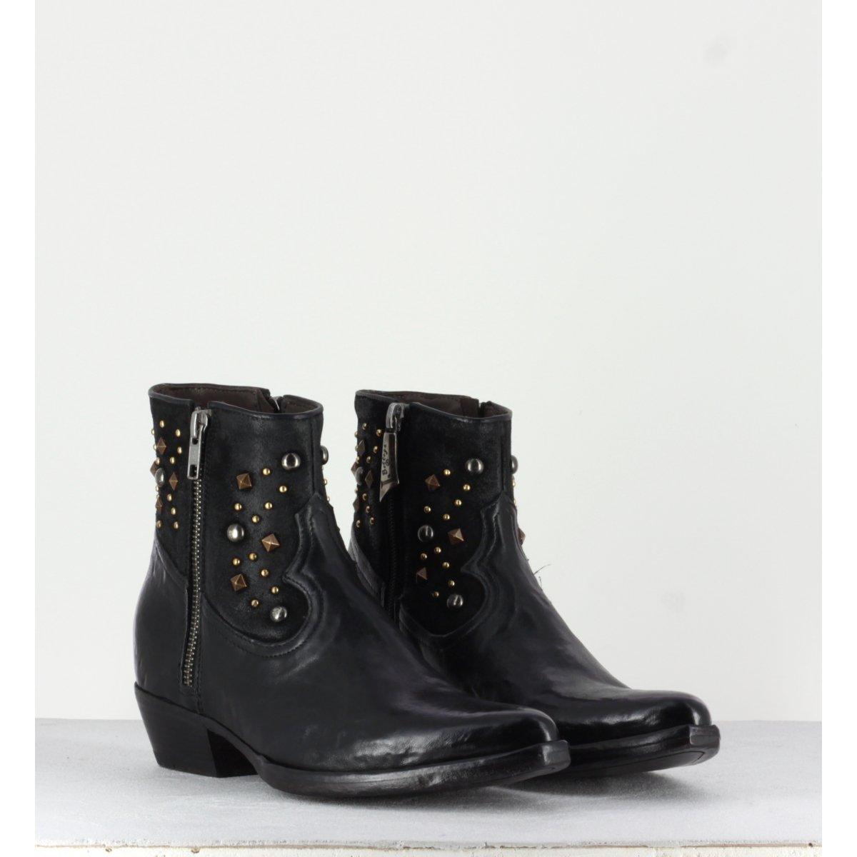 Boots courte santiag en cuir noir La Bottega Di Lisa - 3902