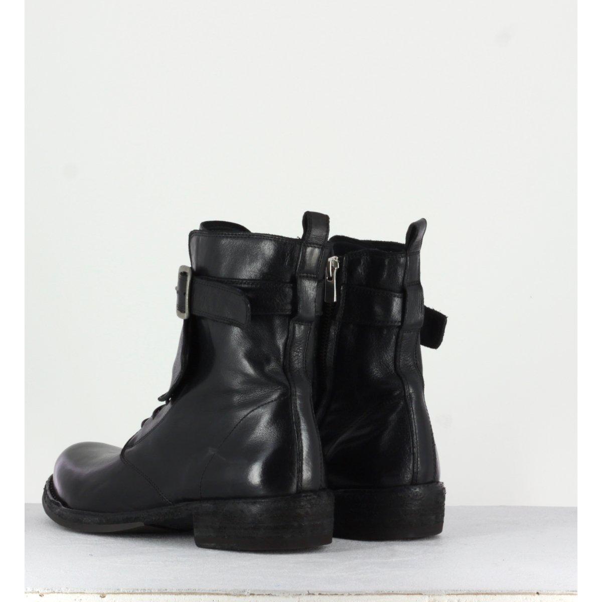 Bottine plates à lacets en cuir noir Officine Creative femme - LEGRAND 142
